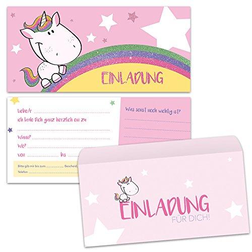 paperii Einladungskarten mit Einhorn Motiv mit Umschlag Einladungskarte mit Glitzer Zum Geburtstag Kinder Mädchen Jungen Kindergeburtstag Einschulung (12 Karten + 12 Umschläge)