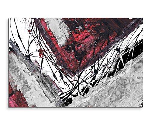 120x80cm Leinwandbild Leinwanddruck Kunstdruck Wandbild rot schwarz grau weiß Ecken