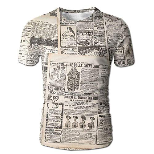 French White-tee (Men's Vintage French Background von Giornale Nostalgic Antique Dated Past Artful Cool Tees White, Mehrfarbig XXL)