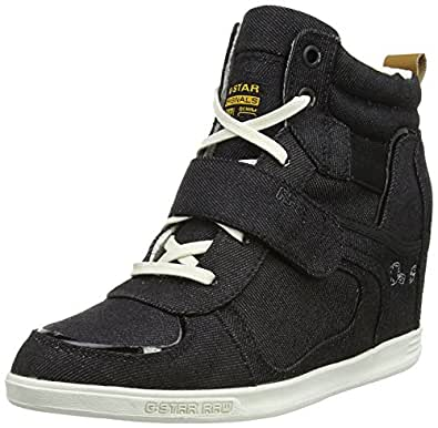 g star yard wedge astral strap drill damen sneaker blau. Black Bedroom Furniture Sets. Home Design Ideas