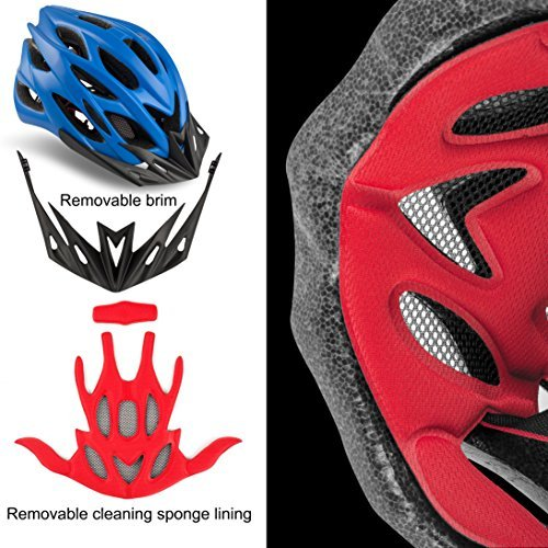 Shinmax Specialized Bike Helm mit Sicherheitslicht, Verstellbare Sport Fahrradhelm Fahrrad Fahrradhelme für Road & Mountain Biking, Motorrad für Erwachsene Männer und Frauen, Jugend – Racing, Sicherheit Schutz (Blau) - 3