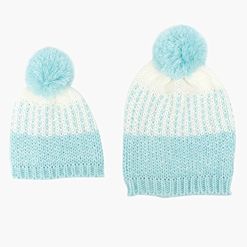 Butterme Eltern Kind Winter Warm Knit Pom Pom Hut Familie Häkeln Wolle Beanie Ski Cap - Blaue Ski-knit Beanie Cap