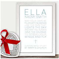 Personalised Christening Gifts for Girls, Boys, Baby Gifts Presents - Handmade Custom Christening Gifts for Baby Girls, Boys, Baptism, Confirmation, Naming Ceremony - A5, A4 Prints and Frames