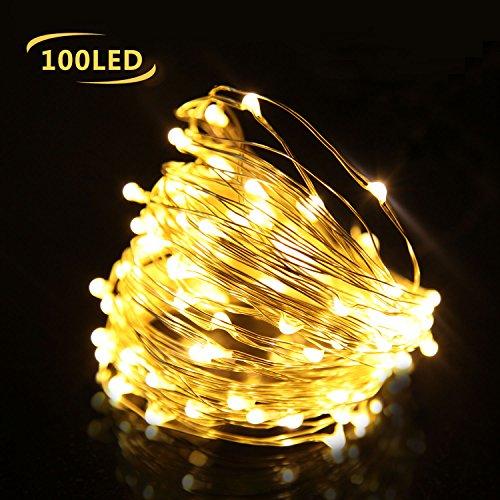 Cadena de Luces 10m 100 LED Impermeable Flexible de Alambre de Plata con 8 Modos de Luz para DIY,Caja de Batería AA(Batería No Incluye) para Iluminación DIY, Navidad y Decoración Fiesta