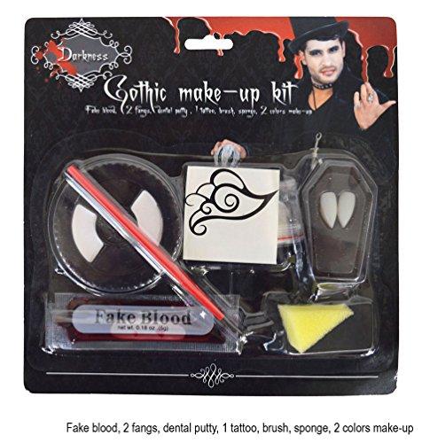 Fake Weißen Zähne Kostüm (Karneval Klamotten Vampir Schminke Make Up Set Vampir Dracula Gothic Schminke mit Dracula-Zähne Vampir-Zähne und Blut Halloween)