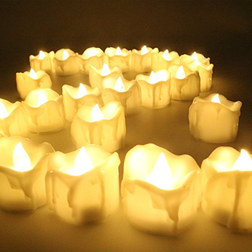 12PCS LED Flackern Kerzen, flammenloses Teelicht mit Batterie für Halloween, Geburtstag, Abendessen, Hochzeit, Partei-Dekor (Flicker Gelb)