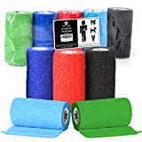 Vet Wrap Cohesive Bandages - 10cm X 4.5m Self Adhesive Bandages. 5 Rolls in 5 Colours. Perfect Self Adherent Vet Wrap for Dogs or Vet Wrap for Horses. Self Adhesive Compression Bandages.
