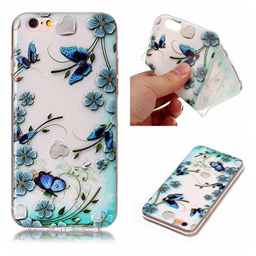 Apple iPhone 6/6S 4.7 Hülle, Voguecase Schutzhülle / Case / Cover / Hülle / TPU Gel Skin (Katze Fang Schmetterling 02) + Gratis Universal Eingabestift Blau Blumen/Schmetterling