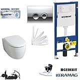 Geberit Duofix Vorwandelement, KERAMAG ICON WC Spülrandlos Komplettset + Deckel Absenkautomatik, Keratect Beschichtung, Schallschutz, Drückerplatte chrom