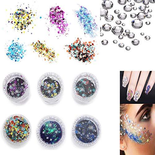 6 Pack Chunky Glitter, Chunky Gesicht Glitter und 300 Stück Weiß Strass, Nagel Dekoration Glitter, Festival Glitter für Gesicht, kosmetische Glitter Sparkle Dekoration
