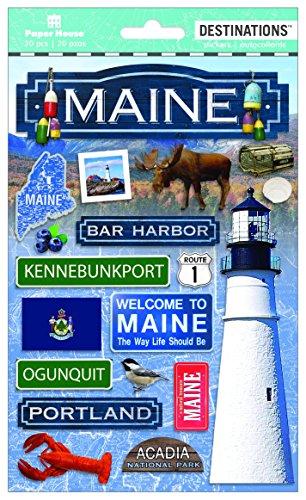Papier House PRODUCTIONS Travel Maine 2D Aufkleber, 3er Pack