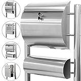 Maxstore STILISTA Hochwertiger V2A Edelstahl Standbriefkasten mit Zeitungsfach, verschiedene Designs, Höhe 120-144cm, Schwere Qualität (6-8kg) - 40100029