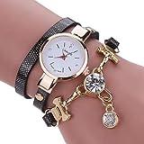 SSITG Damenuhr Kristall Armband Quarz Geflochtene Wickel Wrap Armbanduhr weiss Gold