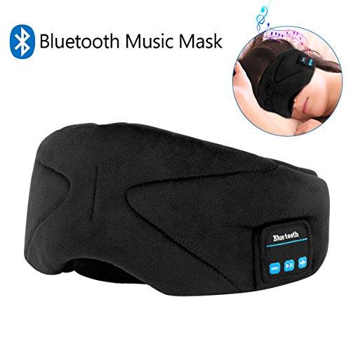 Bluetooth Schlafmaske,WU-MINGLU Augenmaske mit Wireless Bluetooth 4.2 Hifi Kopfhörer Schlafbrille mit Drahtlose Lautsprecher Musik Headset für Flugzeug Schlafen Reisen Entspannung,für iPhone iPad iPod Samsung und alle andere Geräte