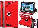 LOLO® ASUS MeMO Pad™ FHD 10 ME302C 360 Grad Rotation Universal PU Leder Hülle Abdeckung Ständer Tasche Beutel (Tablet Case - Cover- Folio) - Rot