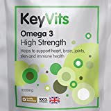 Omega 3 Fish Oil High Strength 1000mg, 365 Capsules, Balanced EPA and DHA, with Natural Vitamin E, Independently Tested and 100% Contaminant Free, Manufactured in the UK, Re-Sealable Foil Pouch, by KeyVits