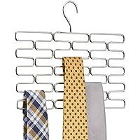 mDesign Corbatero – Elegante percha organizadora con huecos para al menos 23 corbatas – Práctico organizador de accesorios, ideal para ahorrar espacio en interiores de armarios – cromado
