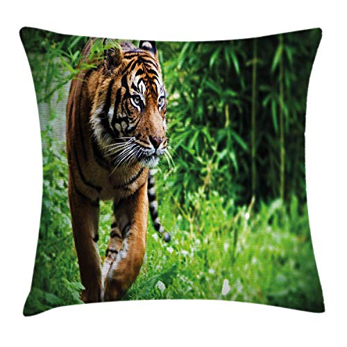 BUZRL Tiger Throw Pillow Cushion Cover, Siberian Large Feline at Zoo Wildlife at Captivity Unnatural Habitat Agressive Animal, Decorative Square Accent Pillow Case, 18 X 18 inches, Multicolor