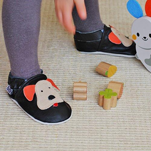 PantOUF Weiches Leder Babyschuhe und Kleinkind schuhe, Krabbelschuhe Schwarz mit einem Hund