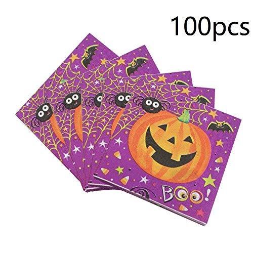 100-Pack Kürbis Serviette Getränke Servietten Einweg Papierservietten Party für Halloween Theme Party Dekoration Favor Supplies (Kürbis) (Party Theme Halloween Supplies)