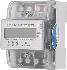 Binghotfire Digitaler Stromzähler Drehstromzähler Wechselstromzähler LCD Wattmeter für DIN Hutschiene, Energiemessgerät mit Wattanzeige 3x230/400V 5(80) A