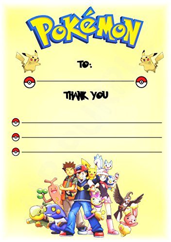 Pokemon Thank You For Coming Geburtstag Party Karten – Hochformat Design – Party Supplies/Zubehör (12 Stück A6 Thank You Karten) WITHOUT Envelopes