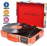 DIGITNOW! Giradischi Bluetooth a 3 Velocità, Convertitore Portatile in Vinile con Altoparlanti Stereo Integrati, Supporto FM Radio / USB / Codifica SD / Uscita RCA