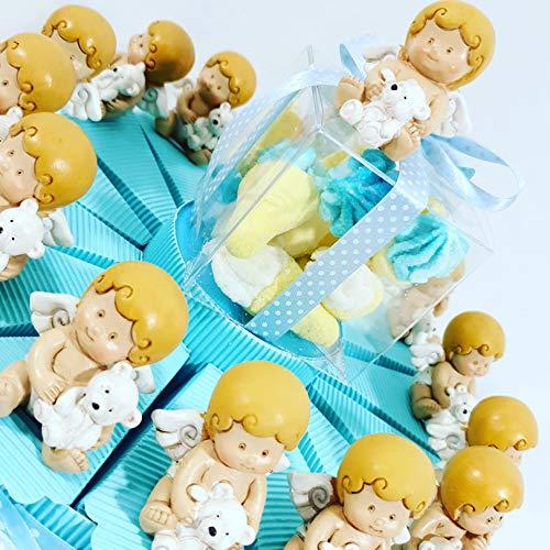 bomboniere Battesimo Angeli Torta 14 fette con 14 Angeli + Centrale + Confetti al Cioccolato crispo
