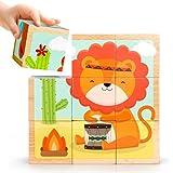 Kinder Würfelpuzzle, Vicoki Holz Bilderwürfel Puzzle 9 Würfel 6 verschiedenen Bildern, 13.5×13.5×4.5cm