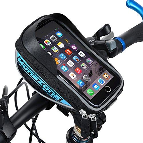 MOREZONE Bolsa Manillar Bicicleta Impermeable Ciclismo Bolso Delantero Con pantalla táctil Bici Bolso adecuado Teléfono Móvil dentro de 5,5 pulgadas (Azul)