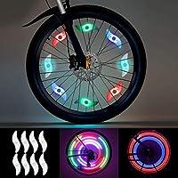 Luz de Radios de Bicicleta, LEDGLE Luz de Rueda LED 8 pcs (Rojo,Verde,Azul,Multicolor), Luces de Radios de Rueda para Adultos, niños Bicicleta, Lámpara de Neumático de Neón Impermeable LED con 3 Modos