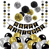 Gdaya Décorations Anniversaire, Décorations de Fête Bannière Happy Birthday,Guirlande en Papier de 2m,30 Ballons, 9 Pompons en Papier,10m de Ruban Doré Hommes Femmes - Noir,Or Gris