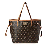 Beverly Hills Polo Club Womens Faux Leather Tote Handbag Brown Extra Large
