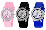 Addic Analogue Multicolour Dial Combo of Three Love Heart Women's Watches - AddicCW447