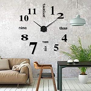 iKALULA DIY Wanduhr, DIY 3D Wanduhren Modern Design Acryl Wanduhren Wandtattoos Dekoration Uhren für Büro Wohnzimmer…