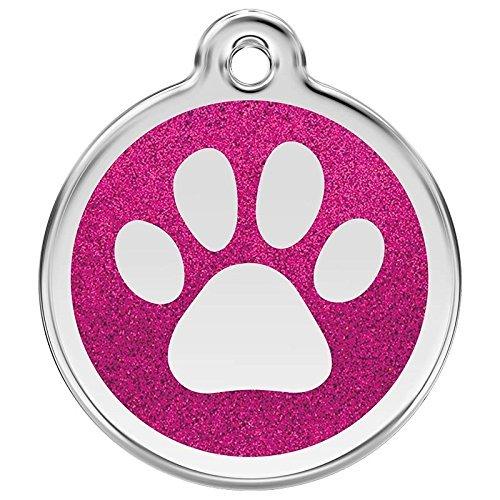RED DINGO Hundemarke GLITTER Pfote pink, klein