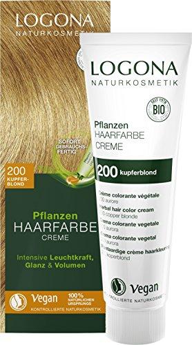 LOGONA Naturkosmetik Pflanzen-Haarfarbe Creme 200 Kupferblond, Blonde Natur-Haarfarbe mit Henna, Farbcreme, Coloration, 150ml