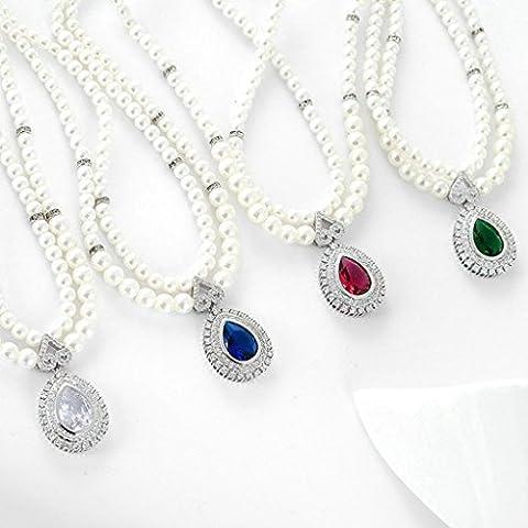 AienidD Cristales Regalos de Navidad-Collar Mujer Joven Garras de Lágrima CZ de Perla Oval Perla Enlace Cuellos Dijes para las Mujeres