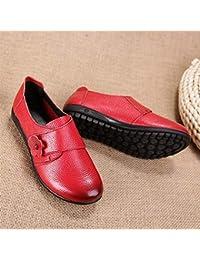 Spring - Zapatos de mujer de piel con flor para madre (parte inferior plana, velcro, boca profunda, media y anciana), color rojo