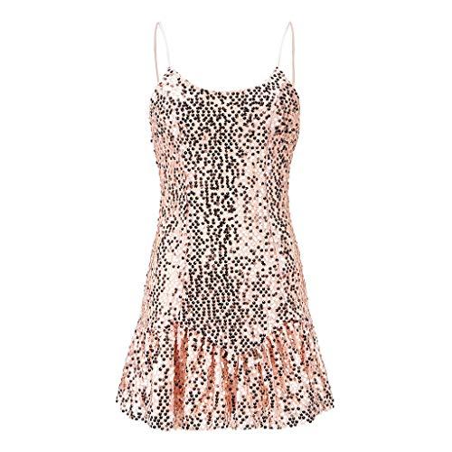 Beikoard Damen Sexy rückenfrei MidiKleid Sequined Bling Shiny Party Bleistift Kleid Sling Verbandkleider