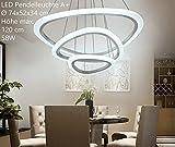 Eurohandisplay 2138-3 Ringe LED Pendelleuchte mit Fernbedienung Lichtfarbe und Helligkeit einstellbar Acryl-Schirm weiß lackierter Metallrahmen individuelles Design Energieeffizienzklasse: A+ Modern Wohnzimmerleuchte Kronleuchte Pendelleuchte DeckenlampeDeckenstrahler led Deckenleuchte Hängeleuchte Hängelampe LED lampe LED Leuchte Beleuchtung Einbauleuchte Wandleuchte Spot Lüster