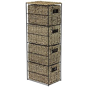 51DtOwmGmAL. SS300  - JVL 4-Drawer Seagrass Storage Tower Unit with Black Metal Frame