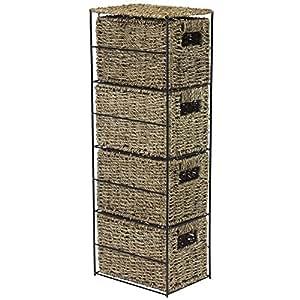 Jvl meuble en osier 4 tiroirs 24 x 17 x 64 5 cm for Meuble a tiroir en osier