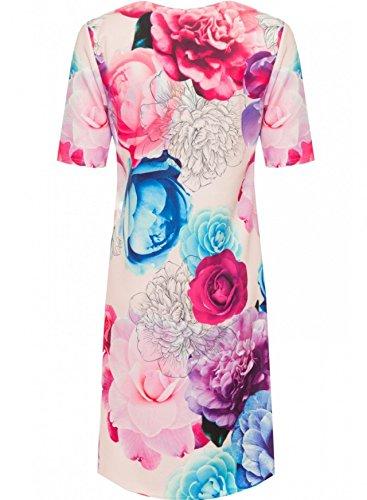 Top Fashion Damen Übergröße Rosen-Druck Schatz Knielangen Kleid 42-56 Floral Rosa