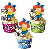 vorgeschnittenen Vintage Dolly Puppe–16. Geburtstag–Essbare Cupcake Topper/Kuchen Dekorationen–Mädchen–Tochter–Geburtstagskarte für Enkelin–Meine Damen (12Stück)