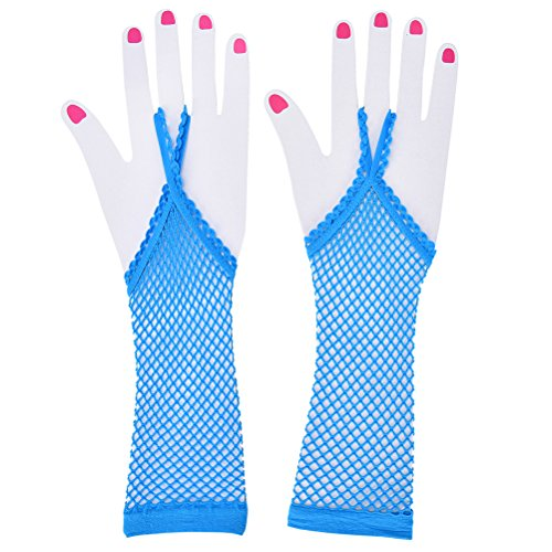 changyin-uk 1Paar Erwachsene Fischnetz-Handschuhe fingerlos lang Fancy Kleid Neon Zubehör blau