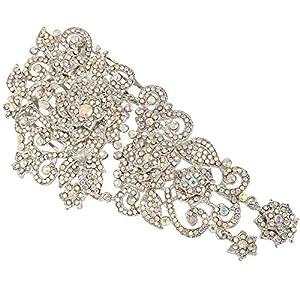 Ever Faith Damen Haarkamm österreichischen Kristall 6 Zoll Vintage-Stil Hochzeit Blume Haare kämmen