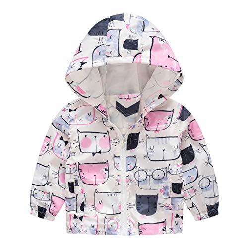 MRULIC Kinder Mädchen Jungen Floral Bedruckter Frühling mit Kapuze Licht Mantel Reißverschluss Jacke Tops Sonnenschutz Kleidung 1-6 Jahre(B-Weiß,80-90CM)