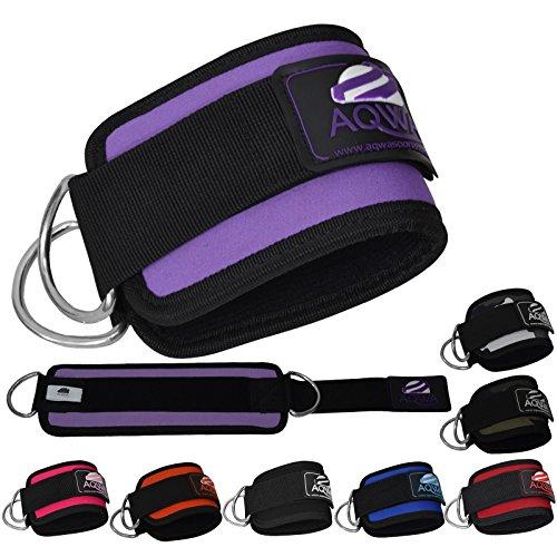 Aqwa Ankle Strap Manschetten Workout Manschette Riemen Kabel Maschine D Ring Lifting Befestigung Kraftstation Bein Oberschenkel Riemenscheibe Übung (einzeln verkauft) Violett violett