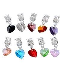 Souarts Mixte Forme de Coeur Pendentifs Perles Charm pour Bracelet Breloque Lot de 10pcs
